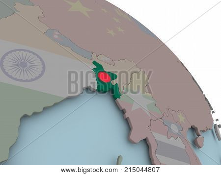 Map Of Bangladesh With Flag