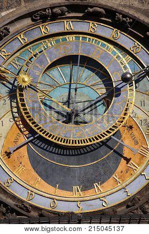 Astronomical clock Orloj at Old Town Square in Prague Czech Republic