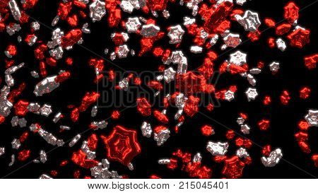 3D illustration of Raining of Lots of Chubby and Big Red and Silver Six Branchs Stars with a Black Background