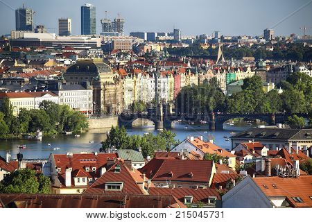 Prague Skyline panoramic view from St Vitus cathedral in Prague Czech Republic
