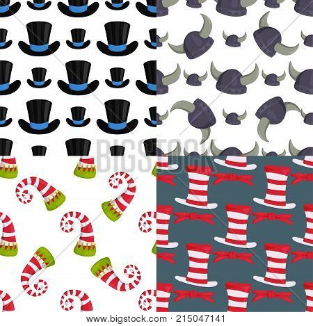 Hats of various type and colors seamless pattern background funny caps for party, holidays and masquerade. Traditional headwear icon cartoon clothes accessory.