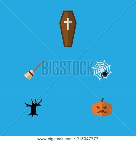 Flat Icon Festival Set Of Spinner, Casket, Terrible Halloween And Other Vector Objects