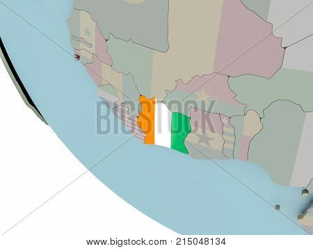 Ivory Coast With Flag Illustration