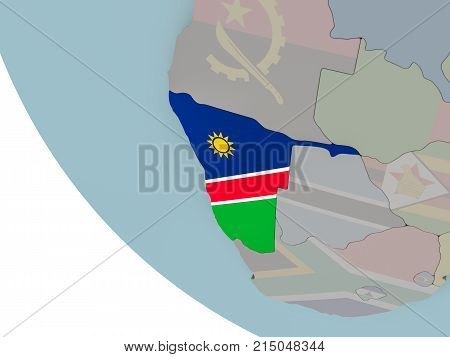Namibia With Flag Illustration