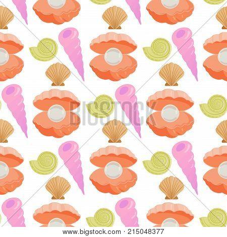 Sea shells marine cartoon clam-shell coralline seamless pattern background ocean starfish vector illustration.. Exotic snail aquarium beauty scallop nature seashell illustration