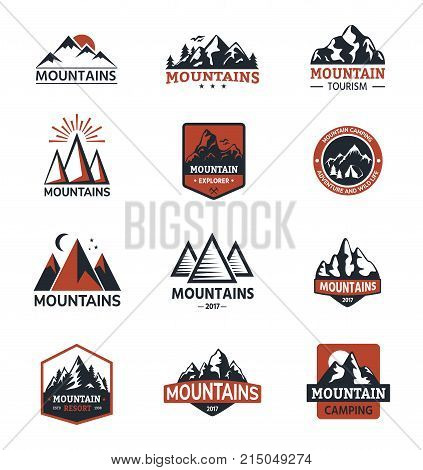Mountain vector silhouette travel logo badge nature outdoor rocky snow top landscape climbing mount hill peak hiking illustration.