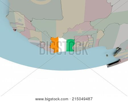 Ivory Coast With Flag On Globe