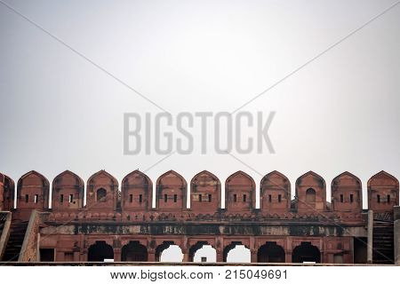 Merlons in crenellation wall in Red Fort of Agra, India