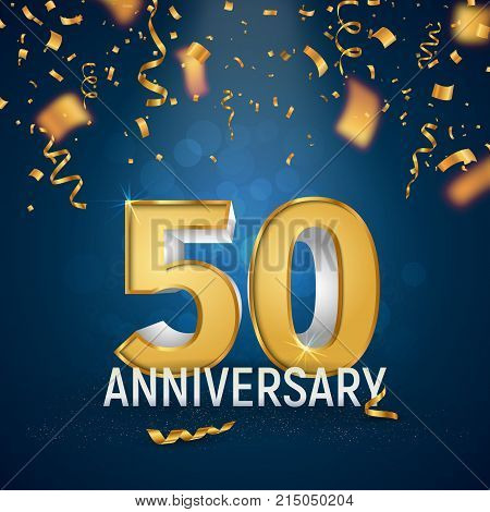 Golden Fifty years anniversary on dark blue background. Golden ribbons and confetti fall from top to bottom. Template birthday celebration vector illustration