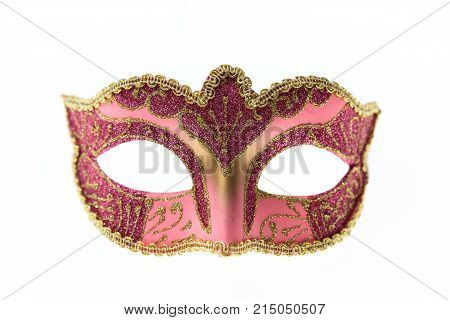 Pink Venetian Carnival Mask Isolated On White Background