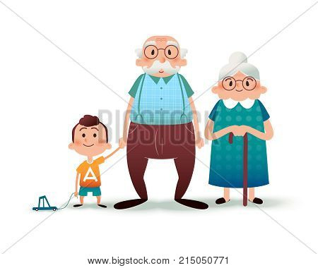 Funny cartoon family. Happy grandfather, grangmother and grandson. Granddad and little boy holding hands. Happy family concept. Cartoon vector flat illustration