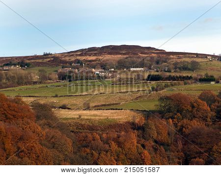 panoramic view of midgley moor near hebden bridge in autumn with surrounding fields and woodland