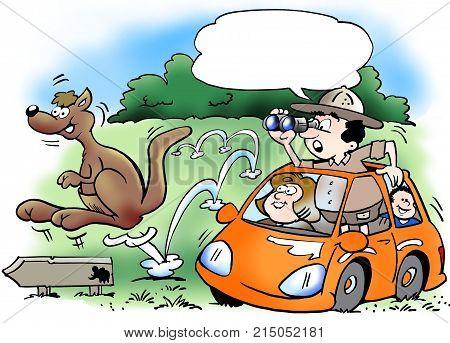 The family on safari tour in their own car