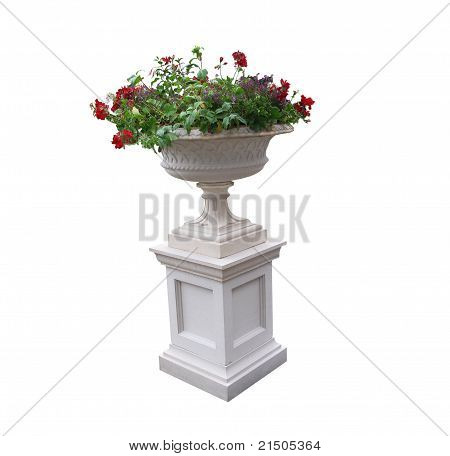 Pedestal With Urn And Plants