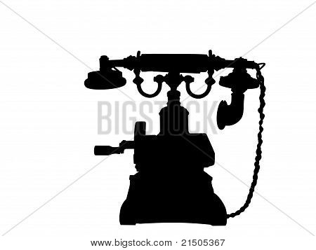 Old Telephone In Silhouette.