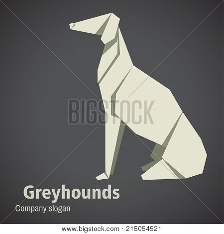 Dog breed greyhounds origami. 2018 Happy New Year greeting card. Celebration background with Dog and place for your text. Vector illustration