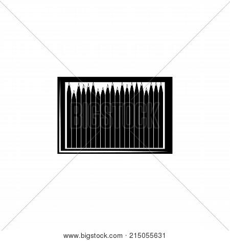 pencil box woodcut icon on white background