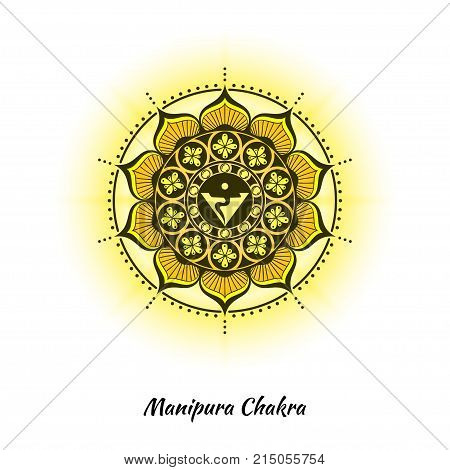Manipura chakra symbol used in Hinduism, Buddhism, Ayurveda. The root chakra design for yoga studios, posters, banners, v-cads