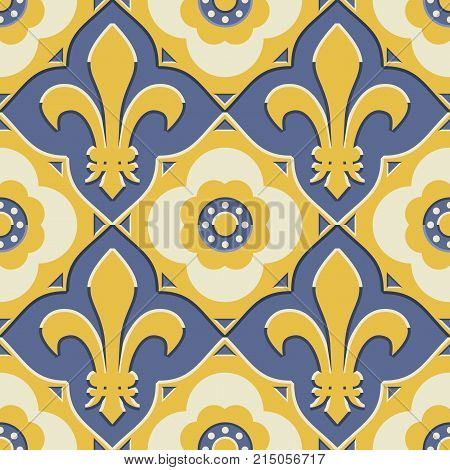 Retro Revival french ornate, fleur de lis in a geometric pattern