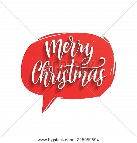 Vector Merry Christmas lettering in speech bubble. Nativity typography. Happy Holidays greeting card, poster template