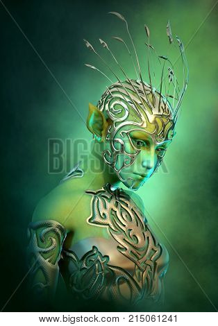 3d computer graphics of an extraterrestrial girl with jewelry and clothing of metal