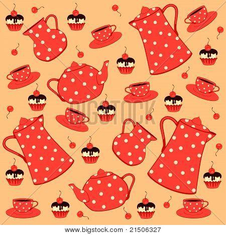 Tea set and cakes