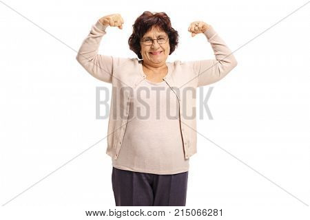 Elderly woman flexing her biceps isolated on white background