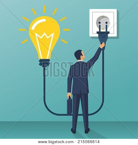 Connect idea. Businessman holding lightbulb, cord electrical plug connected to power outlet. Plug in to wall socket. Business solution. Vector illustration flat design. Isolated on background.