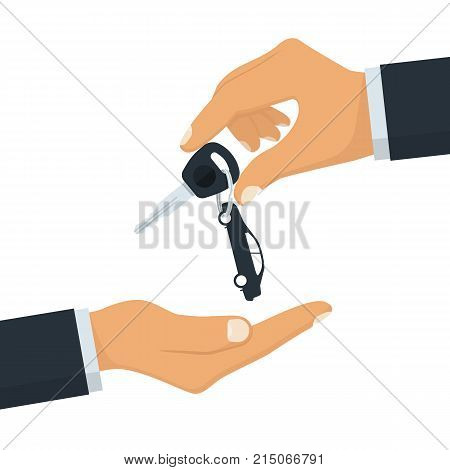Key car in hand. Give, take car key. Buy, rent vehicle. Vector illustration flat design. Isolated on white background. Template purchase buy rental sale vehicle.