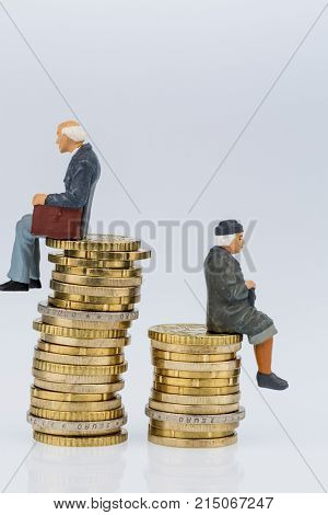 pensioner and pensioner are sitting on piles of money