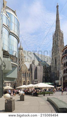 VIENNA AUSTRIA - JULY 12 2015: St. Stephen Cathedral at Stephansplatz in Vienna Austria.