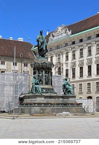 VIENNA AUSTRIA - JULY 11 2015: Statue of Kaiser Franz I in Hofburg Royal Palace in Vienna Austria.