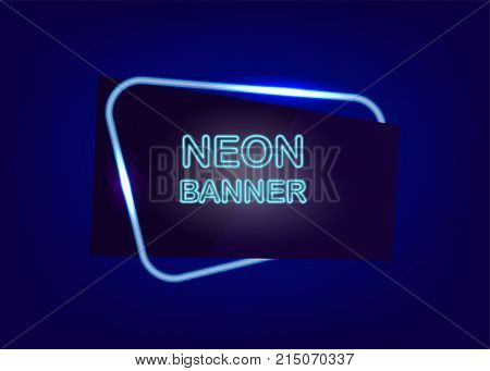 Round corner neon empty sale banner vector illustration. Label template fashion 80s-90s. Electricity light text message frame. Dark blue colored blank mock up background. Glow festive flare shine.