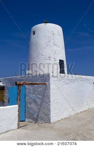 Ancient white salt windmill mill in Formentera Balearic Islands es Moli de Sal