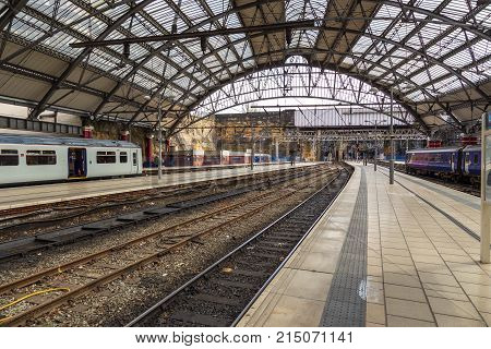 Liverpool, Uk - Lime Street - March 30, 2017: Lime Street Railway Station, Terminus Railway Station,