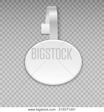 Wobbler mockup with transparent background. Vector blank white round shape paper plastic advertising shop price or sales point tag mock up. Stickers for best choice number one hot price quality