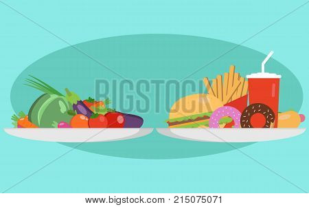 Food choice concept. Two plates with healthy fresh food and junk unhealthy fast food. Concept diet - plate with fruits and organic versus fast food plate with burger, cola, hot dog and donuts. Vector illustration