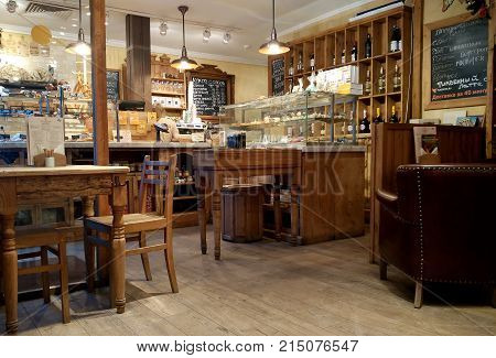 MOSCOW, RUSSIA - NOVEMBER 23, 2017: Cozy Cafe and bakery shop interior in the city center. Cafe Filippov in Shabolovka str.2