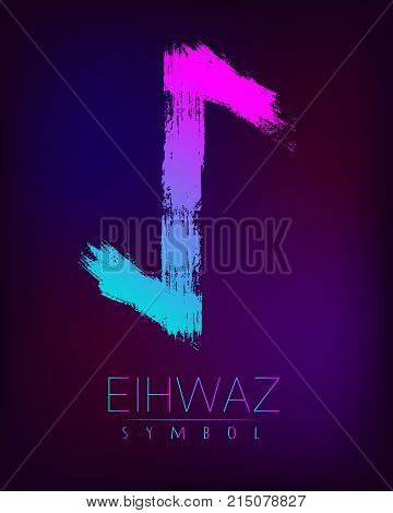 Rune Scandinavia is a Eihwaz riches vector illustration. Symbol of Futhark letters. Brush stripes with trend gradient blue pink color on blur dark background. Magic and mystery sign. Spiritual. poster
