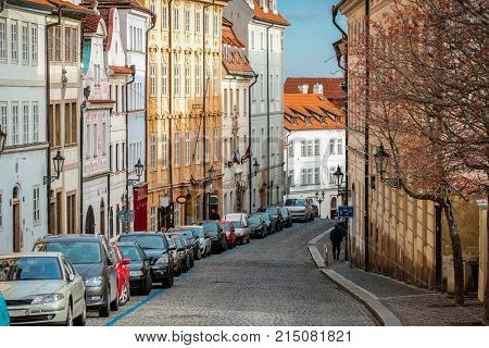 Prague, Czechia - November, 20, 2017: cars on a street parking in the Old town of Prague, Czechia