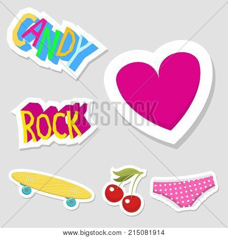 Cute hipster stickers scrapbook drawing vector illustration. Fashion patch pop design hand drawn badges. Vintage female pin doodle accessories.