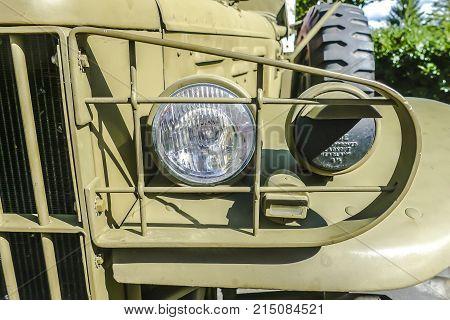 BAD NAUHEIM GERMANY AUGUST 2017: Detail from classic military Dodge Prestone 43 on a show 16 th European Elvis Festival in Bad Nauheim Hessen