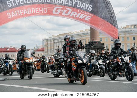 Saint Petersburg. Russia - August 13 2016. Harley Davidson Days. World Bike Festival In Russia