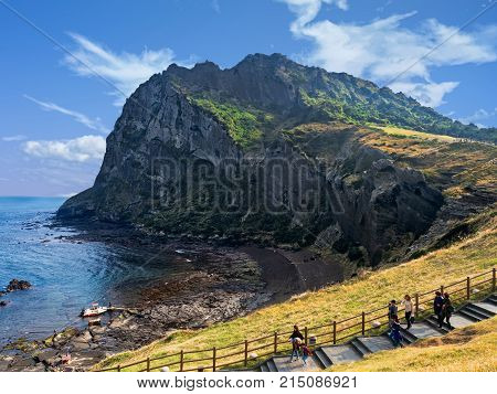 jeju south korea - 3rd november 2017: seongsan ilchulbong also called sunrise peak is formed by hydrovolcanic eruptions. its considered one of the best scenic destinations in Korea.