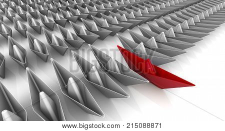 Paper ships in the ranks. A many paper boats in the ranks on a white surface and one red. Leadership concept. 3D Illustration