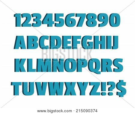 Blue 3d font characters alphabet lettering. Design alphabet vector illustration of blue volume alphabet on white background