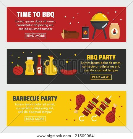 Barbecue and steak three horizontal banners template. Meat firewood coal and BBQ grill on a black background. Poster for barbecue party and time to BBQ. Vector illustration