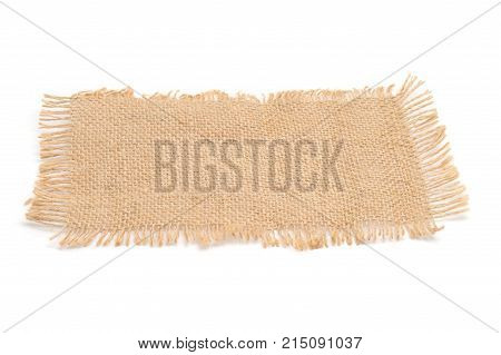 Texture sack background with frayed edges on white background