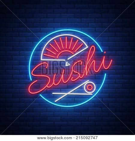 Sushi logo in neon style. Bright neon sign with text is isolated. Seafood, Japanese food. Bright billboard billboard, restaurant advertising bar of Japanese food sushi. Vector illustration.