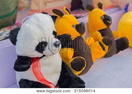 Colourful dolls of bears cubs of bears artworks of handicraft at Handicraft Fair in Kolkata - the biggest handicrafts fair in Asia.